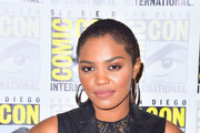 China Anne McClain is seen attending 'Black Lightning' Photo Call during Comic-Con International at Hilton Bayfront in San Diego, California.