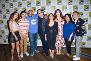 Nichole Bloom, Ben Feldman, Colton Dunn, Mark McKinney, America Ferrera, Lauren Ash, Kaliko Kauahi and Nico Santos ARE seen at the press line for 'Superstore' at 2019 Comic-Con International - Day 1 in San Diego, California.