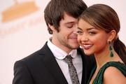 Red carpet arrivals at the 65th Annual Primetime Emmy Awards at the Nokia Theater in Los Angeles on September 22, 2013. Pictured: Sarah Hyland and Matt Prokop.
