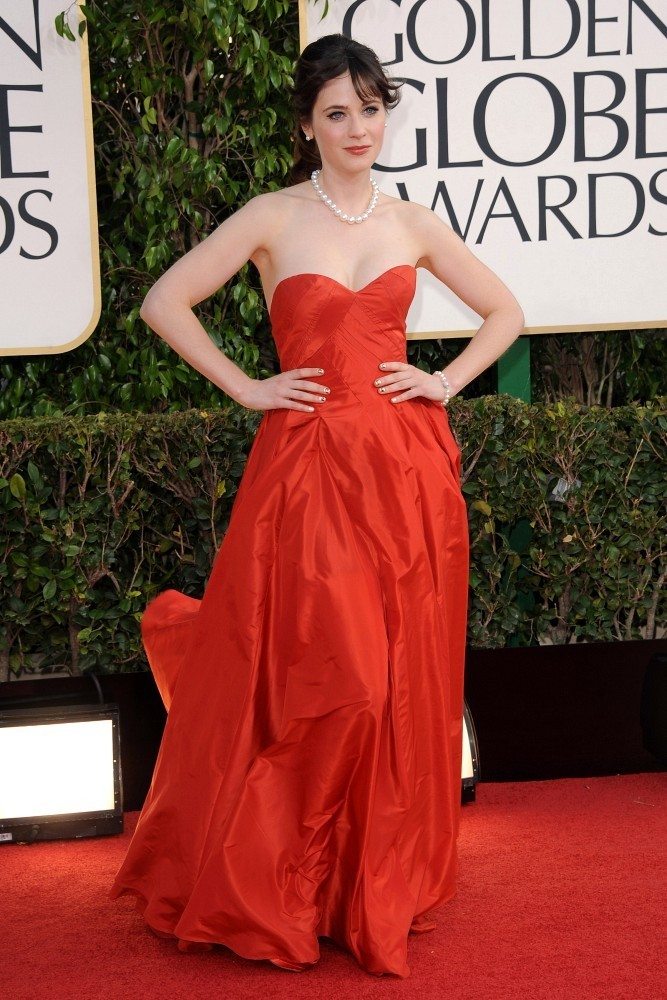 Zooey+Deschanel in 70th Annual Golden Globe Awards