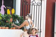Alessandra Ambrosio and her son Noah Mazur are seen in Los Angeles, California.