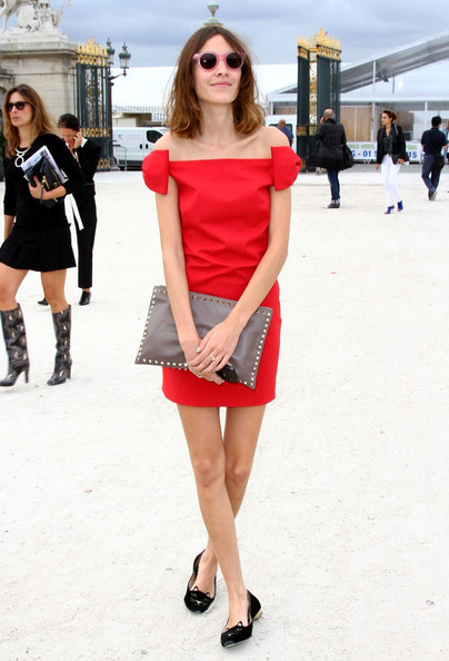 Alexa Chung Valentino Spring/Summer 2012 Ready-to-Wear show at Tuleries Garden during Paris Fashion Week.