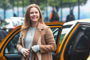 Amy Adams is seen at the movie set of 'The Woman in the Window'.