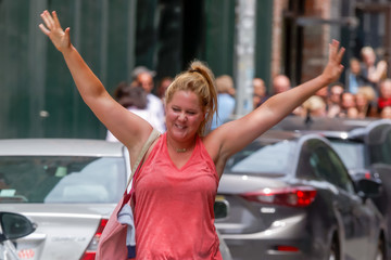 Amy Schumer Amy Schumer on the Set of 'I Feel Pretty'