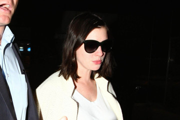 Anne Hathaway Anne Hathaway and Adam Shulman Spotted at LAX