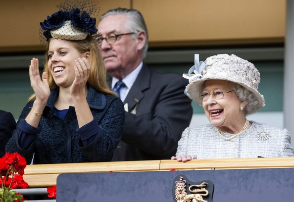20th October, 2012:  Ascot races today. Here, Princess Beatrice and The Queen at the races this afternoon.