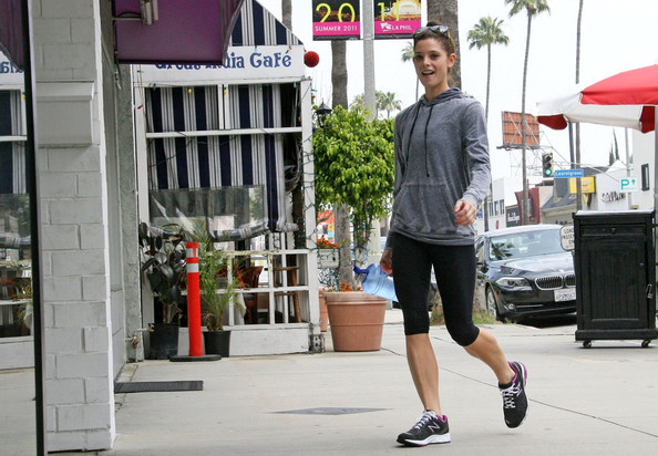 Ashley Greene comes prepared to the gym with a large bottle of water.