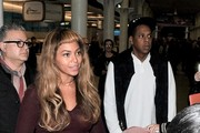 Beyonce and Jay Z with daughter Blue Ivy are pictured arriving at London St. Pancras station from Paris on the Eurostar.