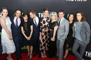 Actress Amy Forsyth, Executive producers Jason Katims, Jessica Goldberg, actors Aaron Paul, Michelle Monaghan, Sarah Jones, Hugh Dancy, Michelle Lee and Kyle Allen are seen attending the premiere of Hulu's 'The Path' at ArcLight Theatre.
