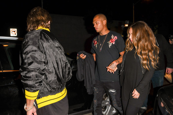 Chloe Green, Jeremy Meeks and Jonathan Cheban Link Arms Leaving Craig's