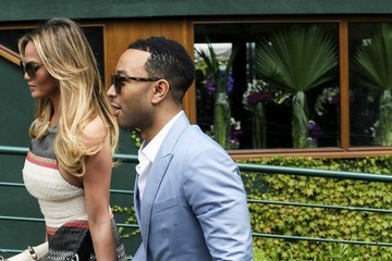 Chrissy Teigen John Legend and Chrissy Tiegan at 2015 Wimbledon Championships