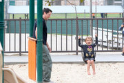 Christian Bale Takes His Son to the Park