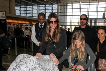 Christian Bale Christian Bale and Family at LAX