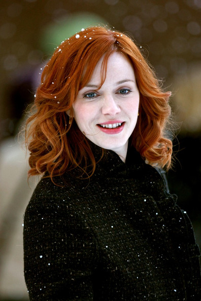 "Christina Hendricks ""I Don't Know How She Does It"" films in the snow in Brooklyn."