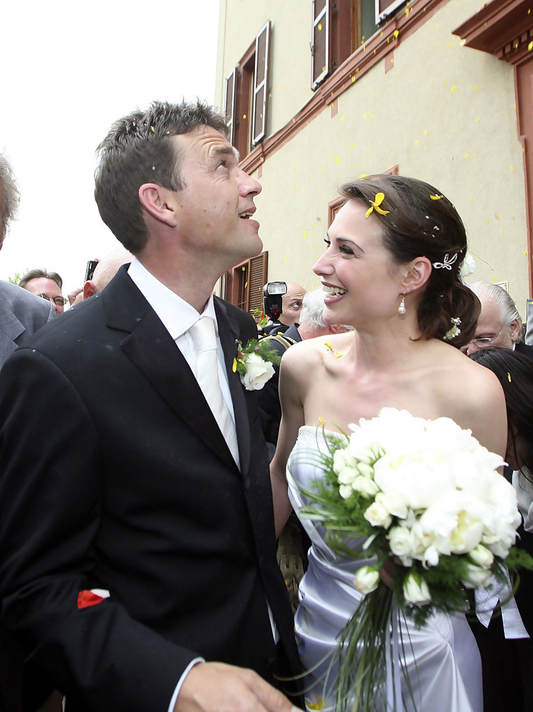 Dougray Scott and his wife Claire Forlani on their wedding day
