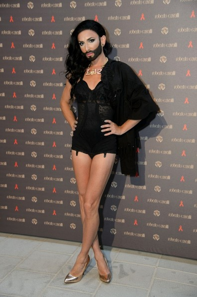 Conchita Wurst. Karolina Kurkova at the opening of Roberto Cavalli's flagship store in Vienna.