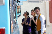 The cast of 'Dancing with the Stars' take a lunch break at a taco stand in the parking lot outside of the studio. One of the cast members welcomed special family guests.