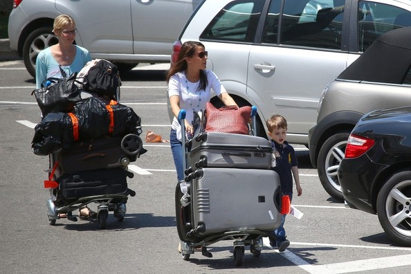 Prince Joachim of Denmark, his wife, Princess Marie of Denmark and their children, Princess Athena of Denmark, Prince Henrik of Denmark load their luggage into their car after arriving at Nice Cote d'Azur Airport.