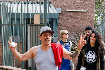 Danny Trejo Celebrities Volunteer At Los Angeles Mission