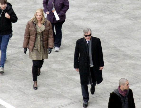 "Robert De Niro and Joely Richardson shoot a crowded scene for their upcoming film ""Red Lights."" ."