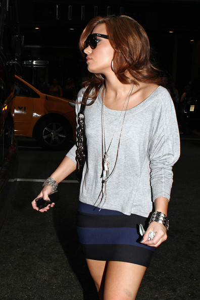 Demi Lovato Demi Lovato leaves the London Hotel wearing her dark shades.