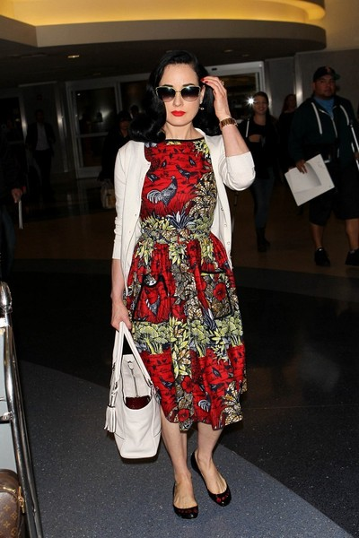 Dita Von Teese Looks Stylish at LAX