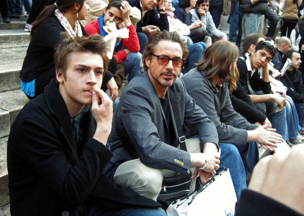 Robert Downey Jr. and his son Indio Falconer Downey (b. September 7, 1993) spend time sight seeing and shopping.