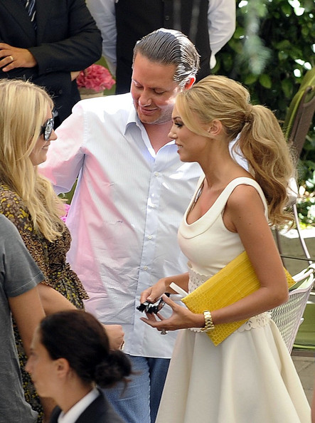 Wedding guests of heiress Petra Ecclestone and James Stunt mingle in the
