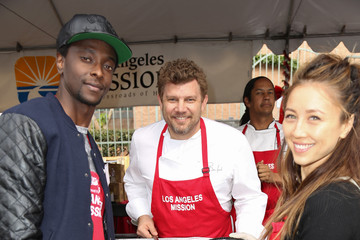 Edi Gathegi Celebrities Attend Christmas Dinner for the Homeless at Los Angeles Mission