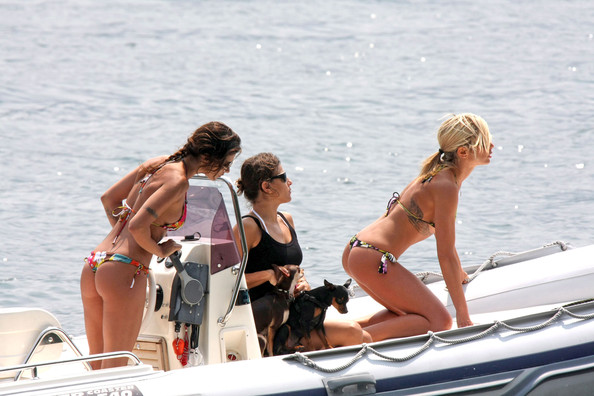 george clooney girlfriend bikini. George Clooney#39;s girlfriend Elisabetta Canalis shows off her toned body in a thong ikini while taking her equally hot friend italian showgirl Maddalena