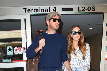 Elizabeth Chambers Armie Hammer and Elizabeth Chambers at LAX