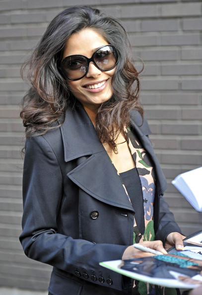 Freida Pinto Freida Pinto is all smiles as she leaves the London studios.