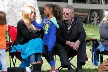 Gunther Klum Heidi Klum and Her Dad Watch Soccer