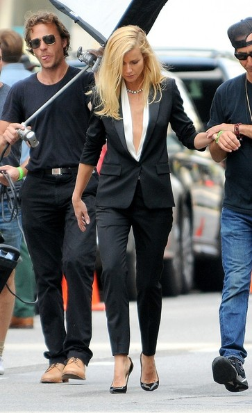 Gwyneth Paltrow on a photo shoot for Hugo Boss in downtown Los Angeles.