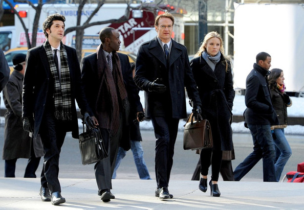Kristen Bell, Don Cheadle, Josh Lawson and Ben Swartz film scenes for the television show 'House of Lies'.