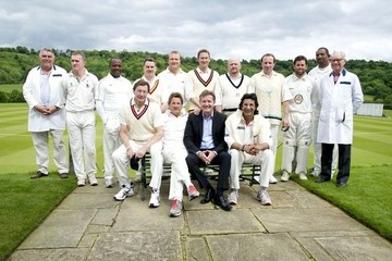 Wasim Akram Hurley attend the charity cricket match