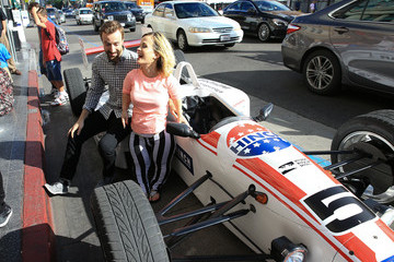 James Hinchcliffe Terra Jole and James Hinchcliffe Are Seen in an Indy Car on Hollywood Boulevard