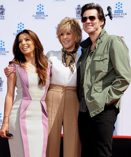 Jane Fonda Hand and Footprint Ceremony..TLC Chinese Theatre, Hollywood, CA..April 27, 2013..Job: 130427A1..(Photo by Axelle Woussen / Bauer-Griffin)..Pictured: Jane Fonda, Eva Longoria and Jim Carrey..
