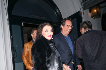 Joan Collins Percy Gibson Joan Collins And Percy Gibson Leave Craig's Restaurant In West Hollywood
