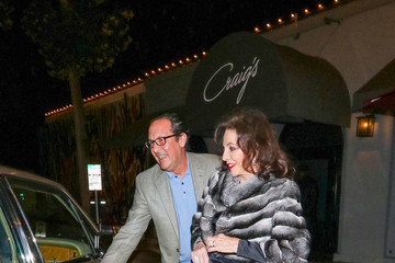 Joan Collins Joan Collins And Percy Gibson Outside Craig's Restaurant In West Hollywood