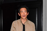 John Cho is seen at Craig's restaurant in Los Angeles, California.