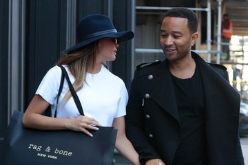 John Legend Chrissy Teigen and John Legend Take a Stroll