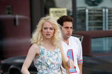 Jonah Hill Emma Stone Performs on the Set of the Netflix Series 'Maniac'