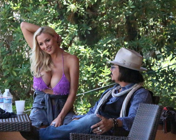 Jordan Carver Chats With Johnny Depp Lookalike