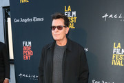 Charlie Sheen  is seen attending 'Stuntman' premiere at the ArcLight Theatre in Culver City in Los Angeles, California.