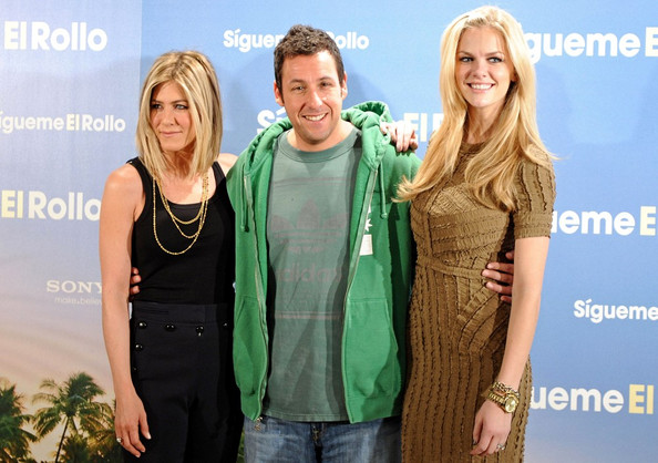 "Jennifer Aniston, Adam Sandler, and Brooklyn Decker attend a photocall for ""Just Go with It"" at the Villamagna Hotel."
