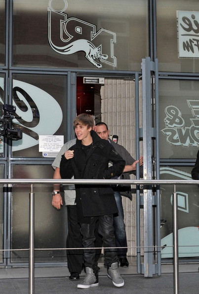 "Justin Bieber Justin Bieber arrives at the NRJ radio station with open arms for his awaiting fans as he continues to promote his movie, ""Never Say Never.""  ."
