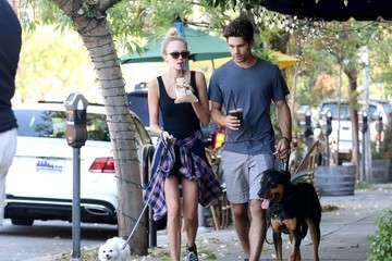 Justin Gaston Melissa Ordway and Justin Gaston Walk Their Dogs