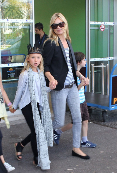 Kate Moss and daughter Lila Grace (b. September 29, 2011) arrive in France for a few days.