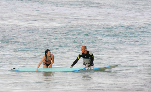 Cameron Diaz Surfing With Kelly Slater